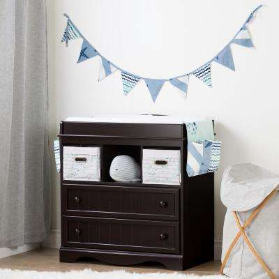Savannah Espresso and Blue Changing Table with Little Whale Runner and Pennant Banner