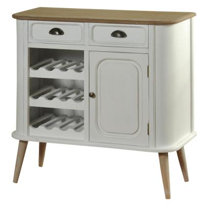 White Body and Natural Wood Top and Legs 2-Drawer Cabinet