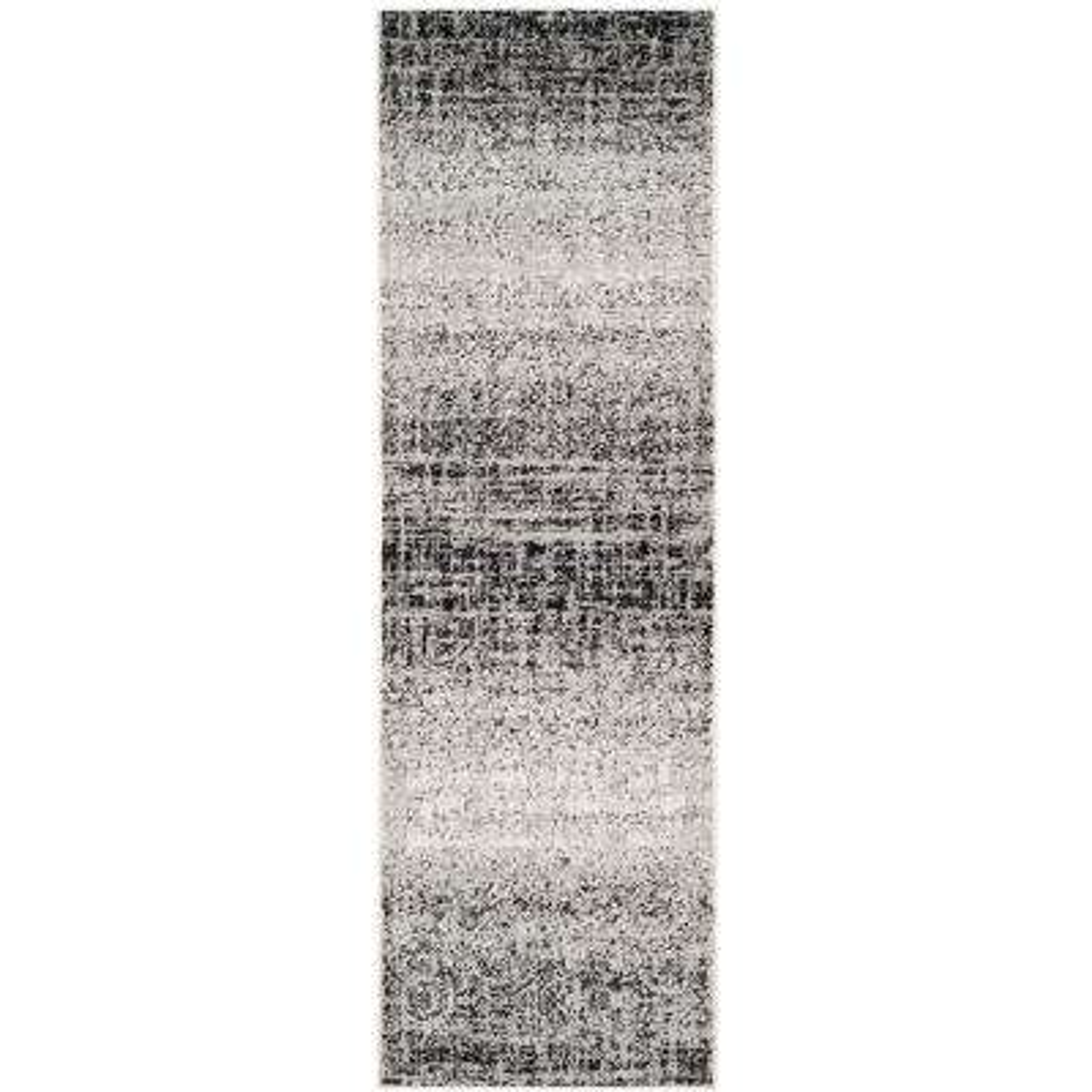 Adirondack Silver/Black 3 ft. x 22 ft. Runner Rug