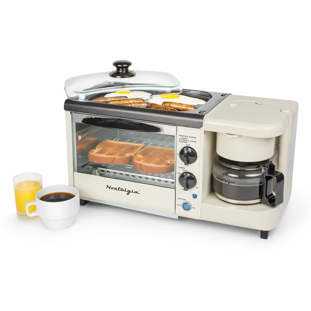 Nostalgia 3 In 1 Bisque Breakfast Station Toaster Oven