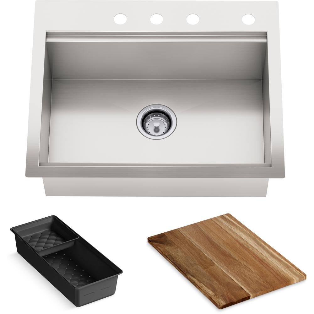 Lyric Dual Mount Workstation Stainless Steel 27 in 4-Hole Single Bowl Kitchen Sink with Integrated Ledge and Accessories