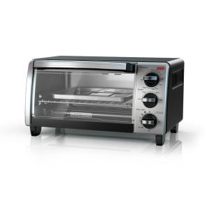B D 4 Slice Natural Black Convection Toaster Oven 3 Knob