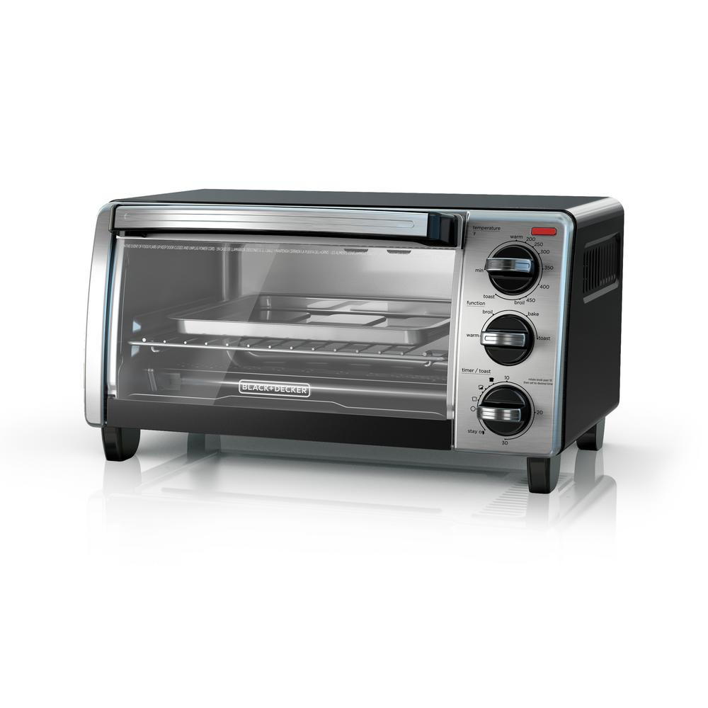 BLACK+DECKER 1150 W 4-Slice Stainless Steel Convection Toaster Oven with Built-In Timer-TO1750SB ...