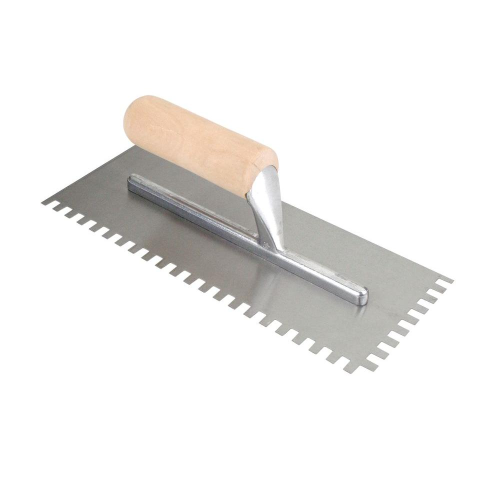 QEP 11 in. x 3/8 in. x 1/4 in. Square-Notch Pro Flooring Trowel with Wooden Handle