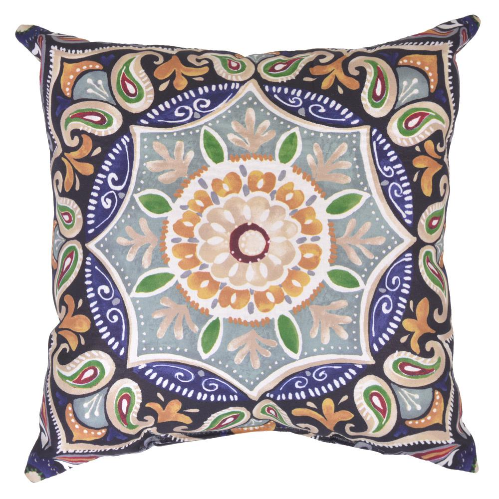 Hampton Bay Fern Medallion Square Outdoor Throw Pillow