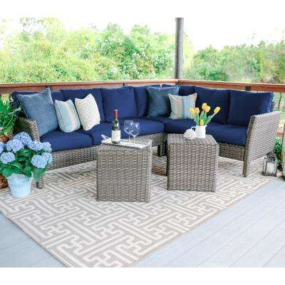 Canton 6-Piece Wicker Outdoor Sectional Set with Navy Cushions