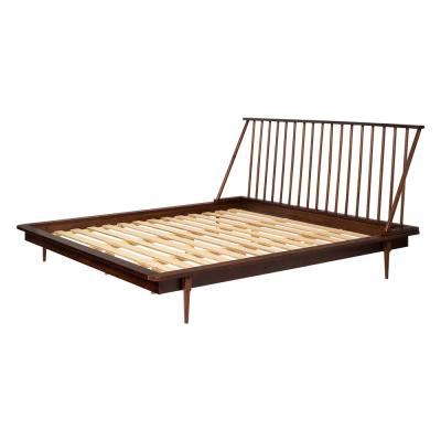 Solid Wood Modern Walnut King Spindle Bed