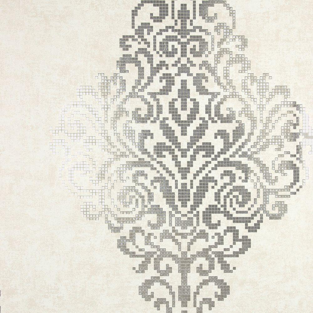 Kenneth James Lux Silver Foil Damask Wallpaper