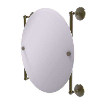 Monte Carlo Collection 22 in. x 22 in. Round Frameless Rail Mounted Mirror in Antique Brass