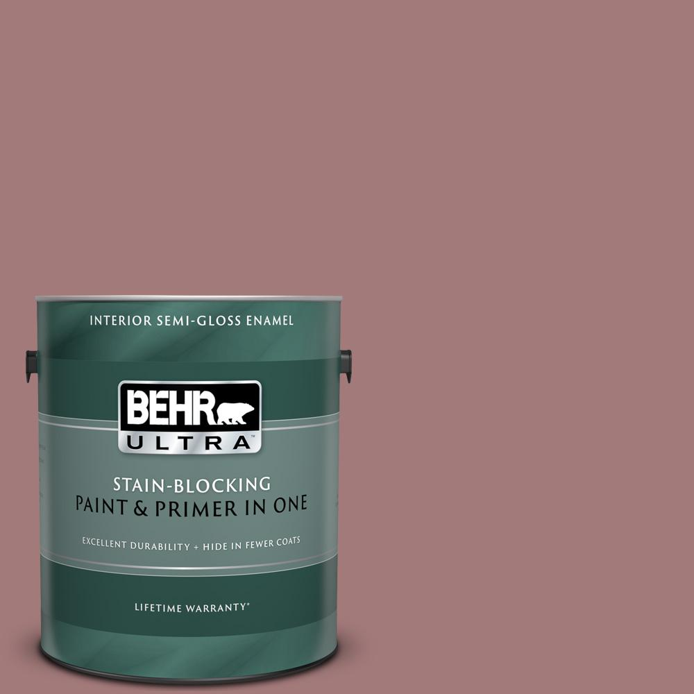 Behr Ultra 1 Gal Icc 108 Brandied Apple Semi Gloss Enamel Interior Paint And Primer In One 375301 The Home Depot