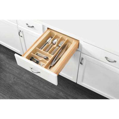 2.375 in. H x 14.25 in. W x 21.25 in. D Medium Almond Cutlery Tray Drawer Insert