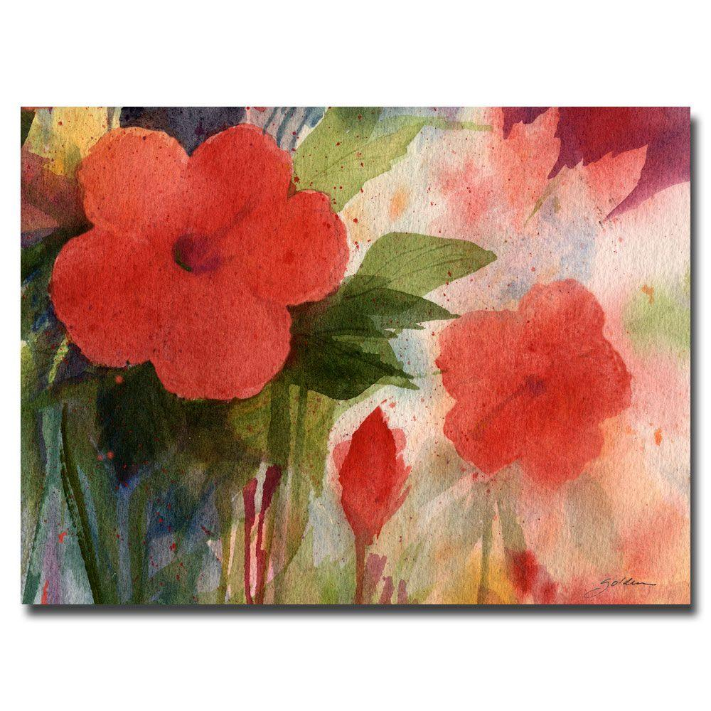 Trademark Fine Art 24 in. x 32 in. Red Blossoms Canvas Art