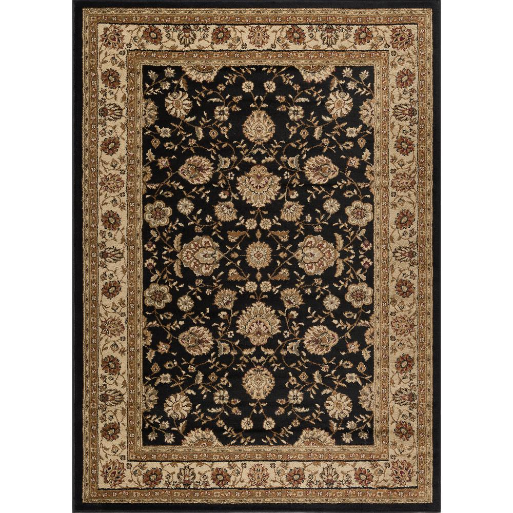Tayse Rugs Elegance Black 5 Ft X 7 Traditional Area Rug 5143 5x7 The Home Depot