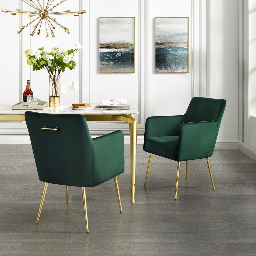 Capelli Emerald/Gold Velvet Metal Leg Dining Chair (Set of 2)