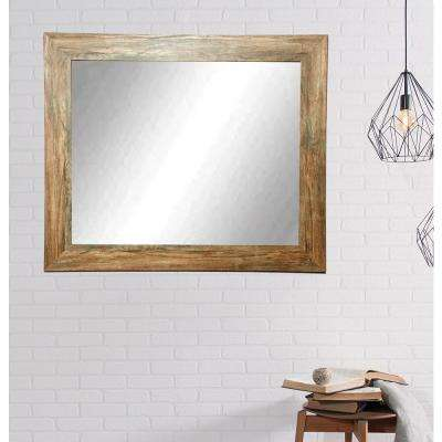 Traditional Rectangle Blonde Barnwood Decorative Wall Mirror