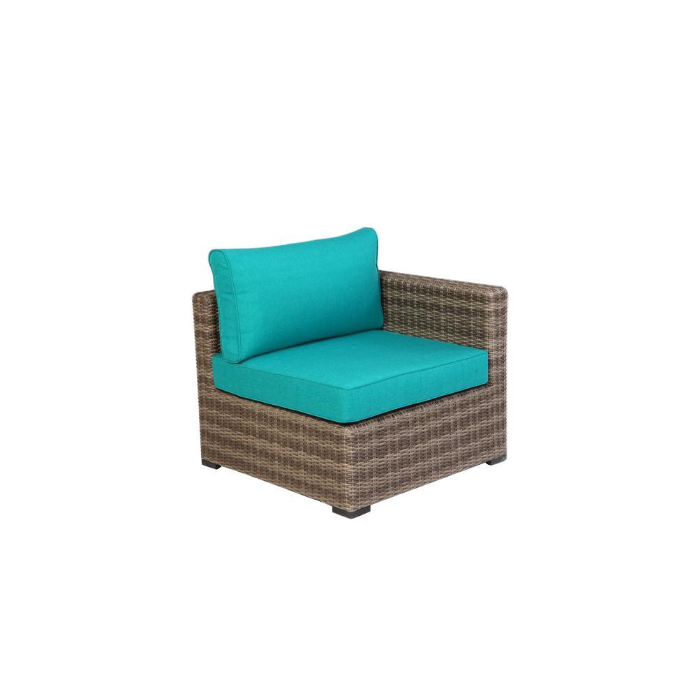 Hampton bay arm corner outdoor sectional chair aluminum patio sunbrella cushions