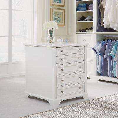 Naples 5-Drawer White Closet Island
