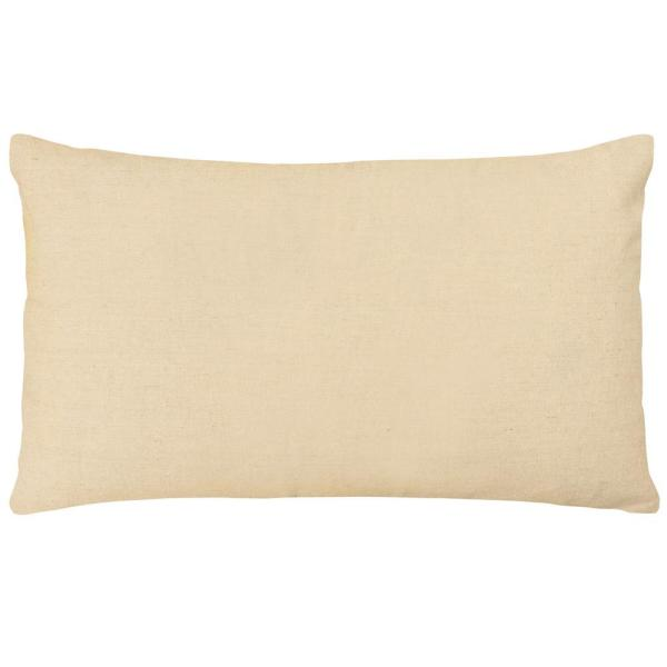 Hadley White and Blue and Natural Solid Down 14 in. x 24 in. Throw Pillow
