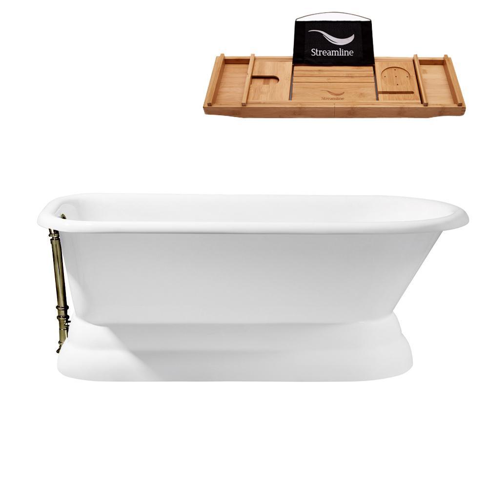 66 in. Cast Iron Flat Bottom Non-Whirlpool Bathtub in White