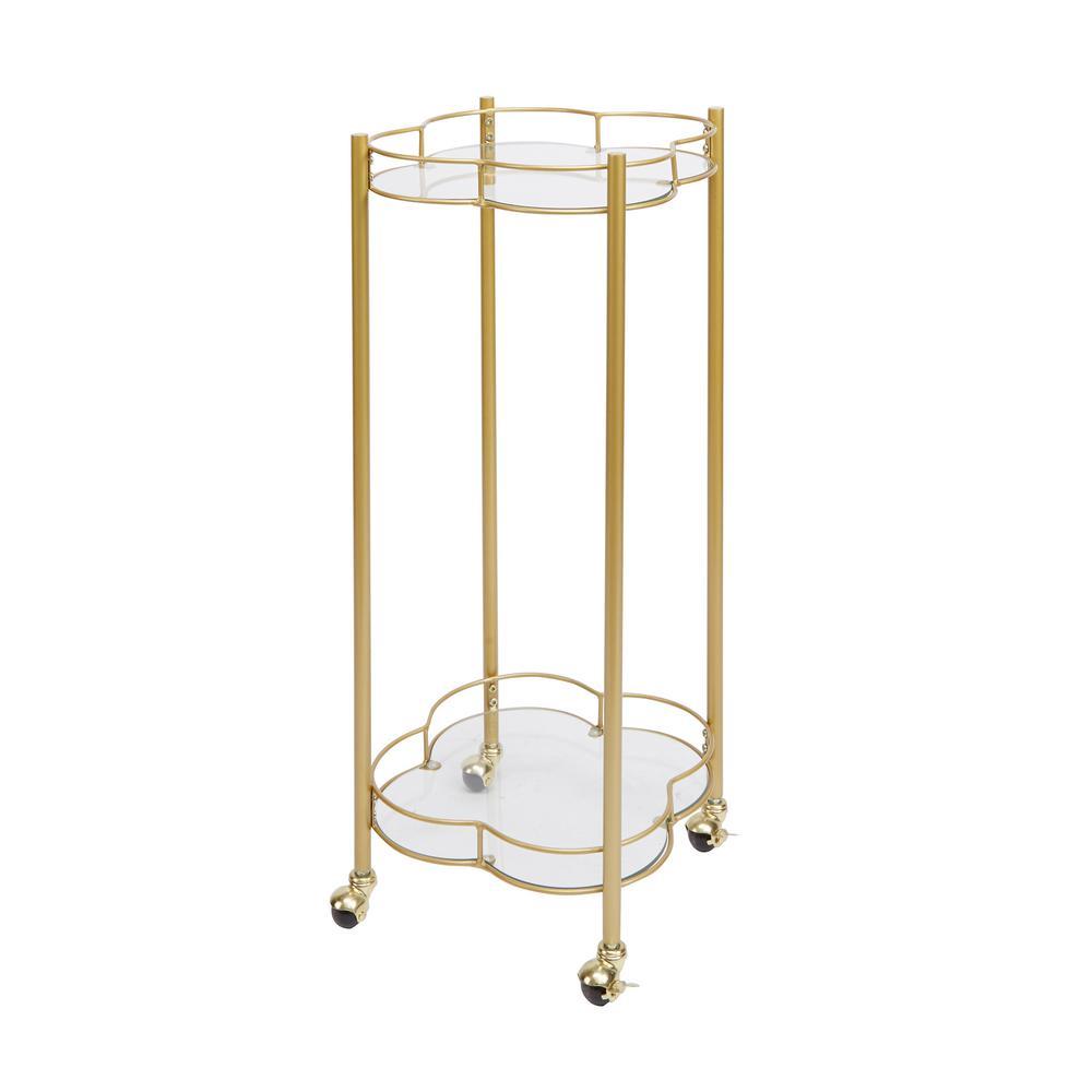 Leona 2-Tier Gold Bar Cart