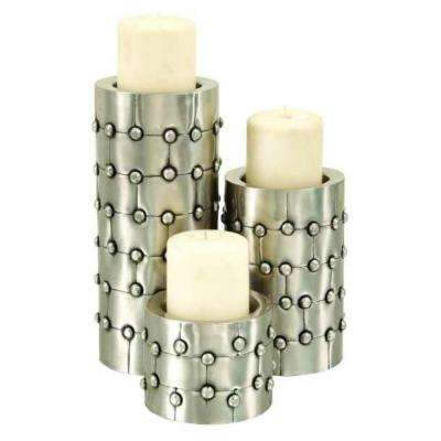 Silver Metal Candleholder/Candlesticks (Set of 3)