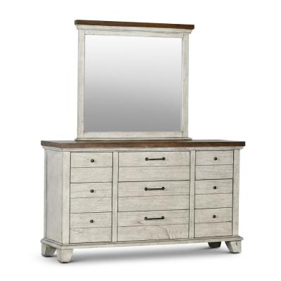 Bear Creek 9-Drawer Rustic Ivory and Honey Dresser with Mirror (78 in. H x 66 in. W x 19 in. D)