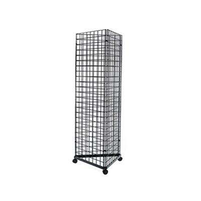 6 ft. H x 2 ft. W Floor Wire Grid Panel/Pegboard 3-Sided Tower Floorstanding Display Kit with Rolling Base Black