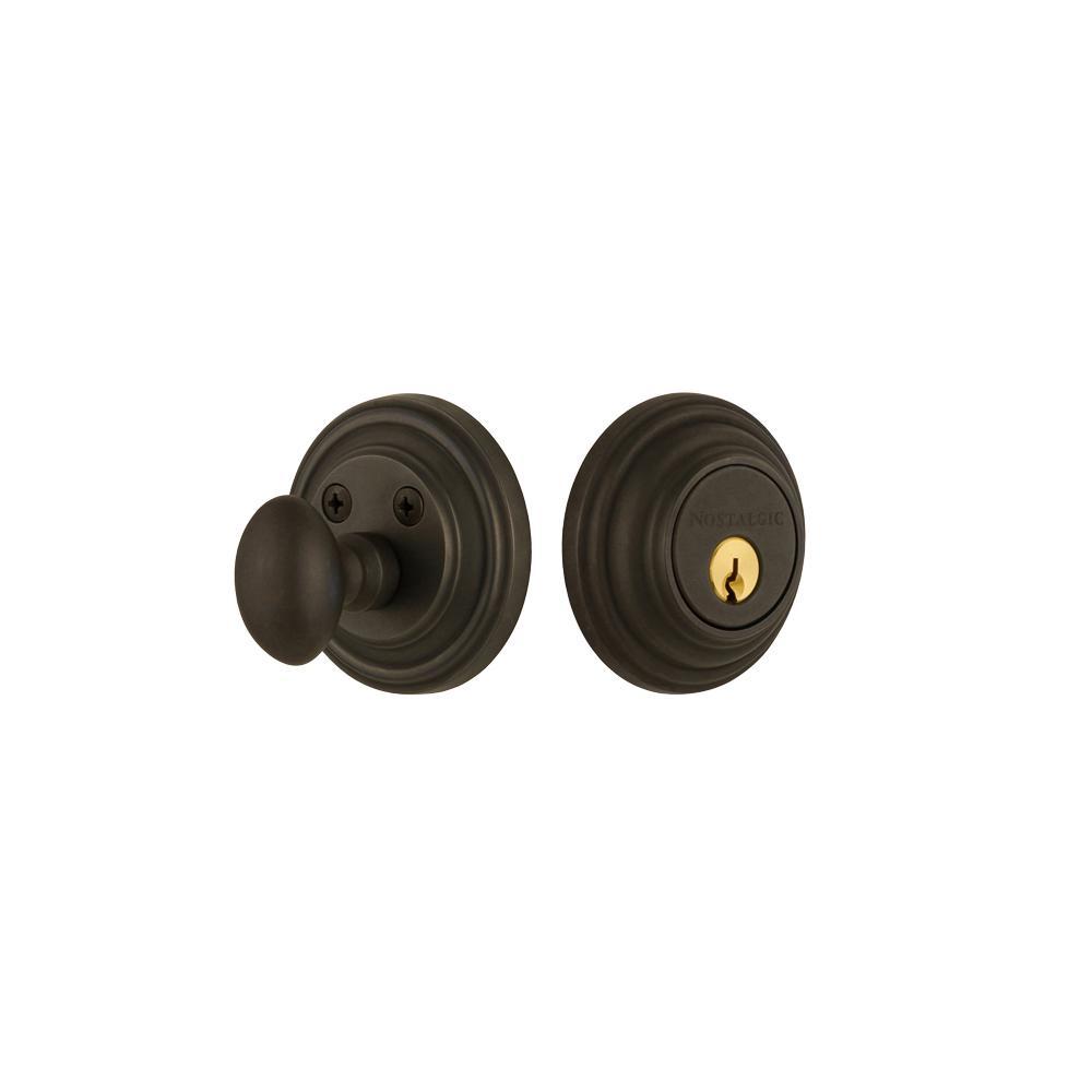 Classic Rosette 2-3/8 in. Backset Single Cylinder Deadbolt in Oil-Rubbed Bronze
