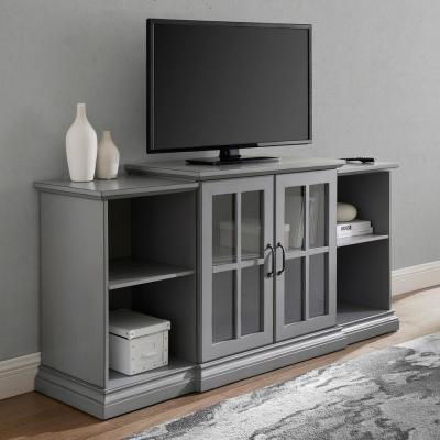 60 in. Antique Gray Composite TV Stand Fits TVs Up to 66 in. with Storage Doors