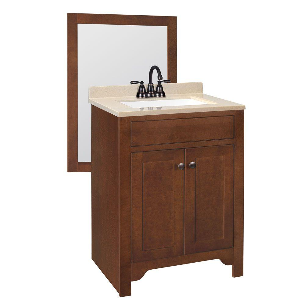 null Hudson 24-5/8 in. W Bath Vanity in Cognac with Solid Surface Vanity Top in Hazel with White Basin and Mirror