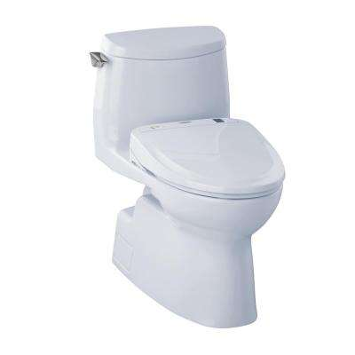 Carlyle II Connect+ 1-Piece 1.0 GPF Elongated Toilet with Washlet S350e Bidet Seat and CeFiOntect in Cotton White