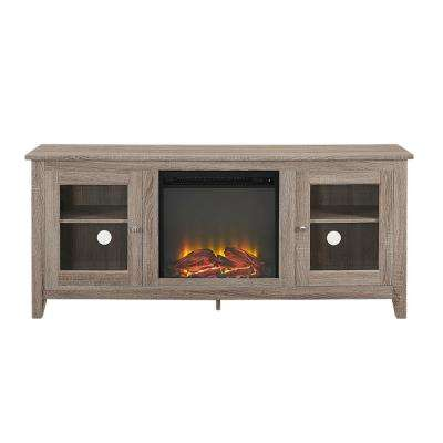 58 in. Wood Media Driftwood TV Stand Console with Fireplace