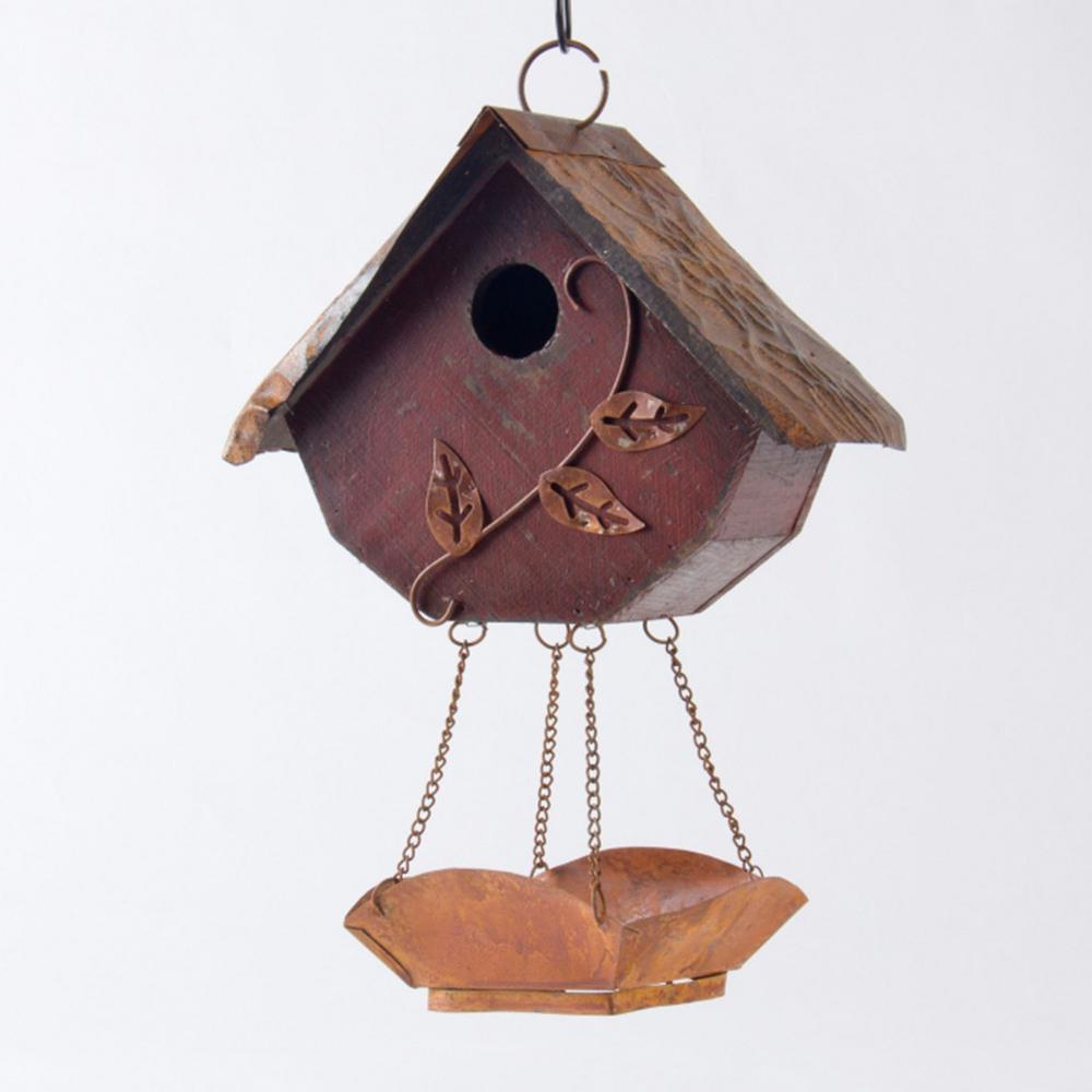 12.91 in. H Rustic Garden Distressed Wooden Decorative Birdhouse with Bird bath