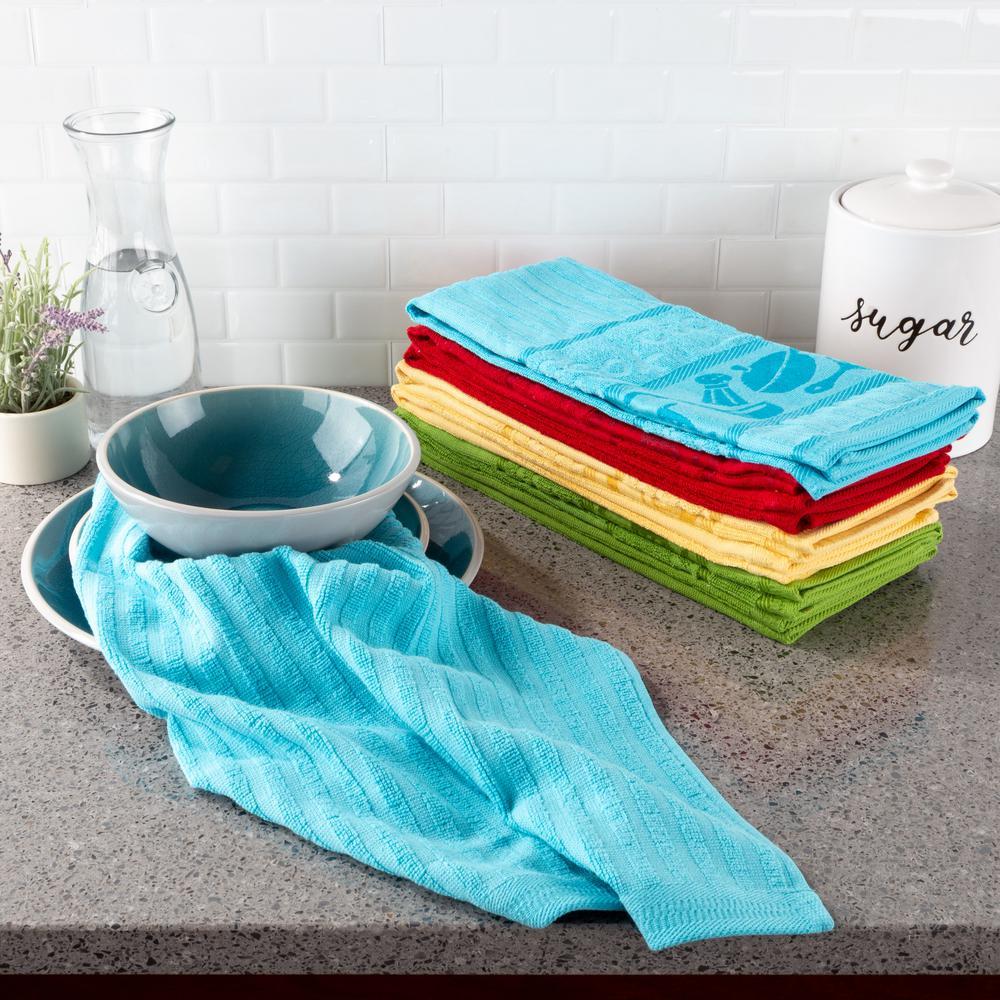 Multi-Color Kitchen Icon Design Chic Pattern Weave Cotton Kitchen Towel Set (8-Pieces)