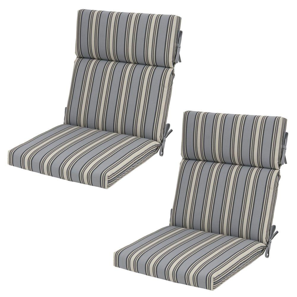 21.5 x 20 Outdoor Dining Chair Cushion in Standard Cement Stripe