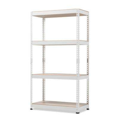 Cody White Metal 4-Shelf Multipurpose Shelving Rack