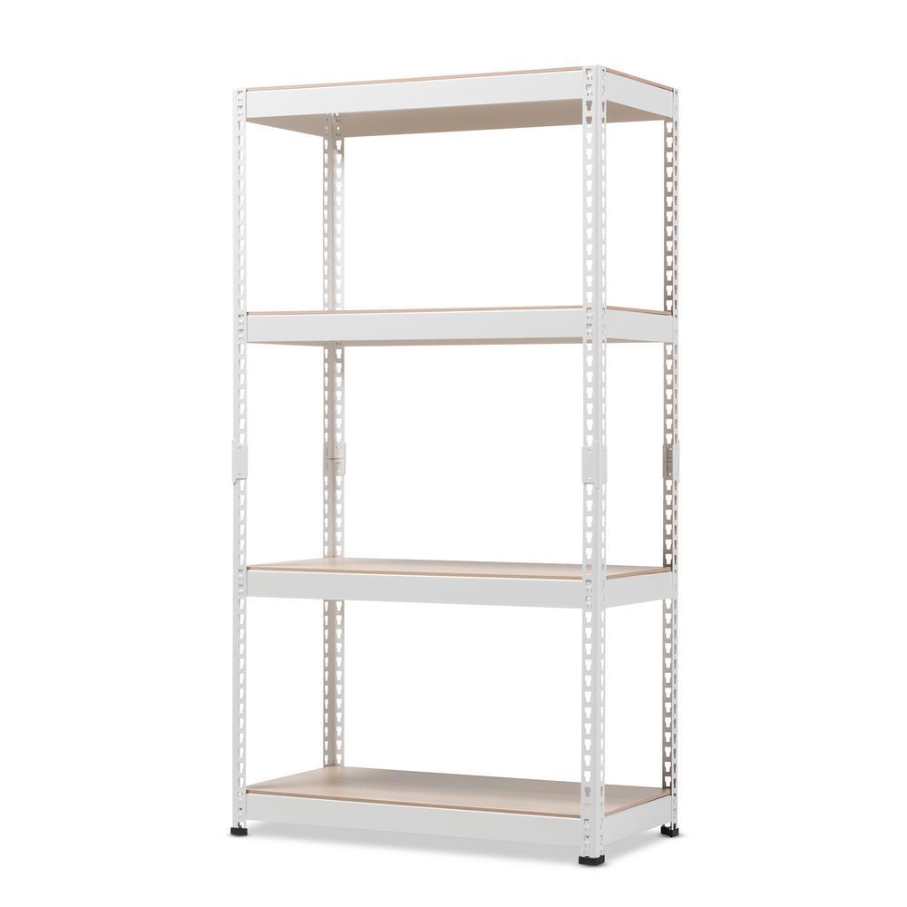 Baxton Studio Cody White Metal 4-Shelf Multipurpose Shelving Rack 28862-7601-HD