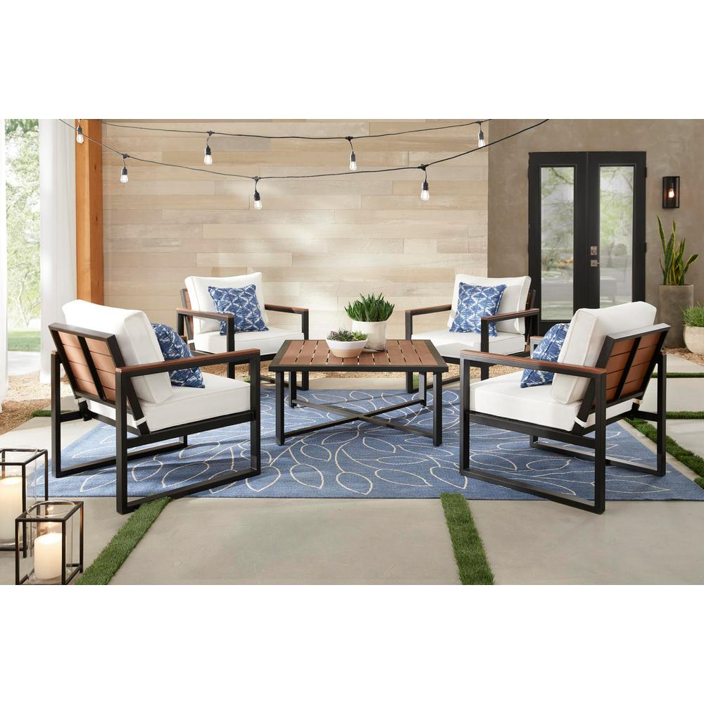 West Park 5-Piece Aluminum Patio Deep Seating Set with CushionGuard White