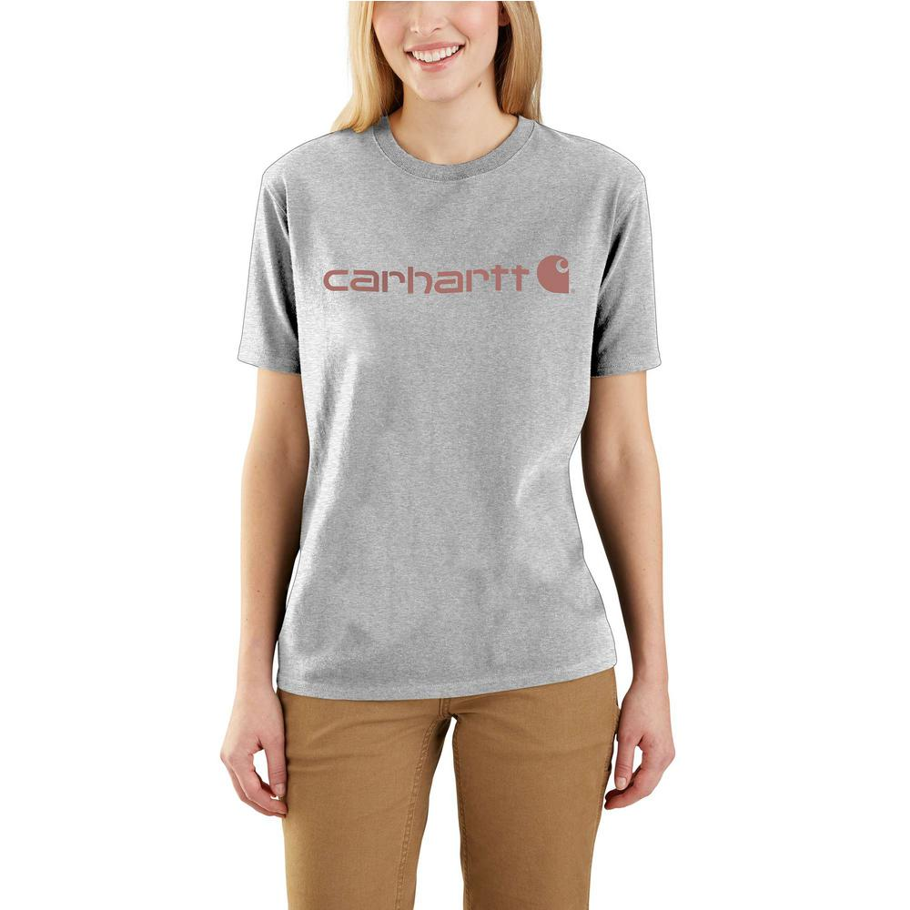 43e1e82ca5 Women's Small Heather Gray Cotton/Polyester Workwear Logo Short Sleeve T- Shirt