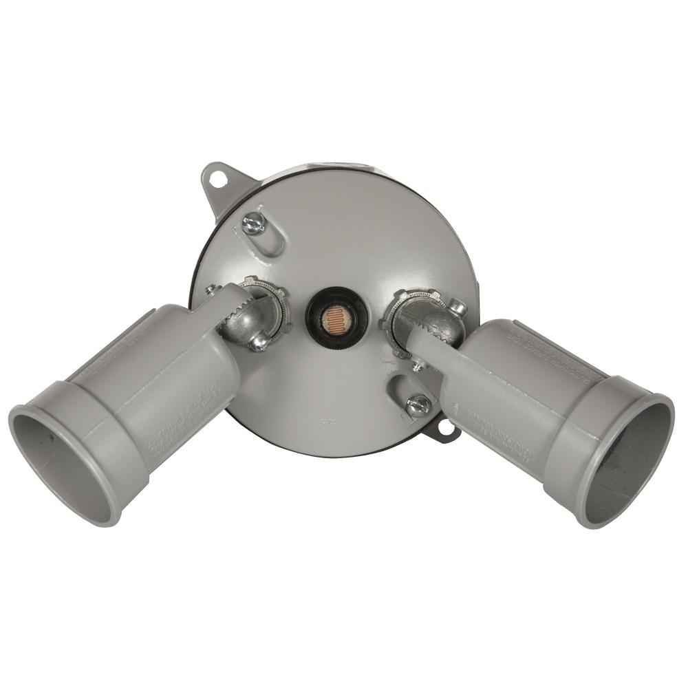4 in. Gray Round Weatherproof 2-PAR Lampholder, Photocell, Box Kit