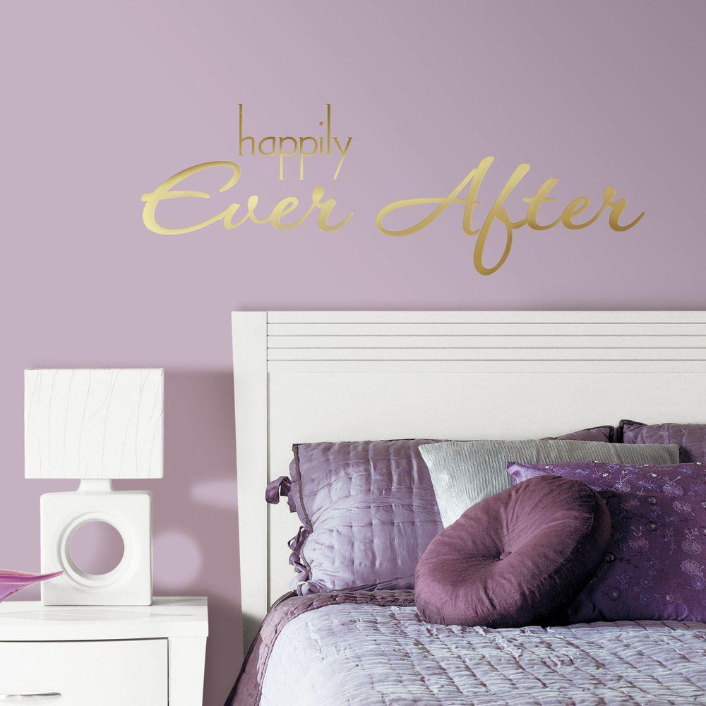 Happily Ever After Quote 8-Piece Peel & RoomMates 5 in. x 11.5 in. Happily Ever After Quote 8-Piece Peel and ...