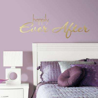 5 in. x 11.5 in. Happily Ever After Quote 8-Piece Peel and Stick Wall Decal