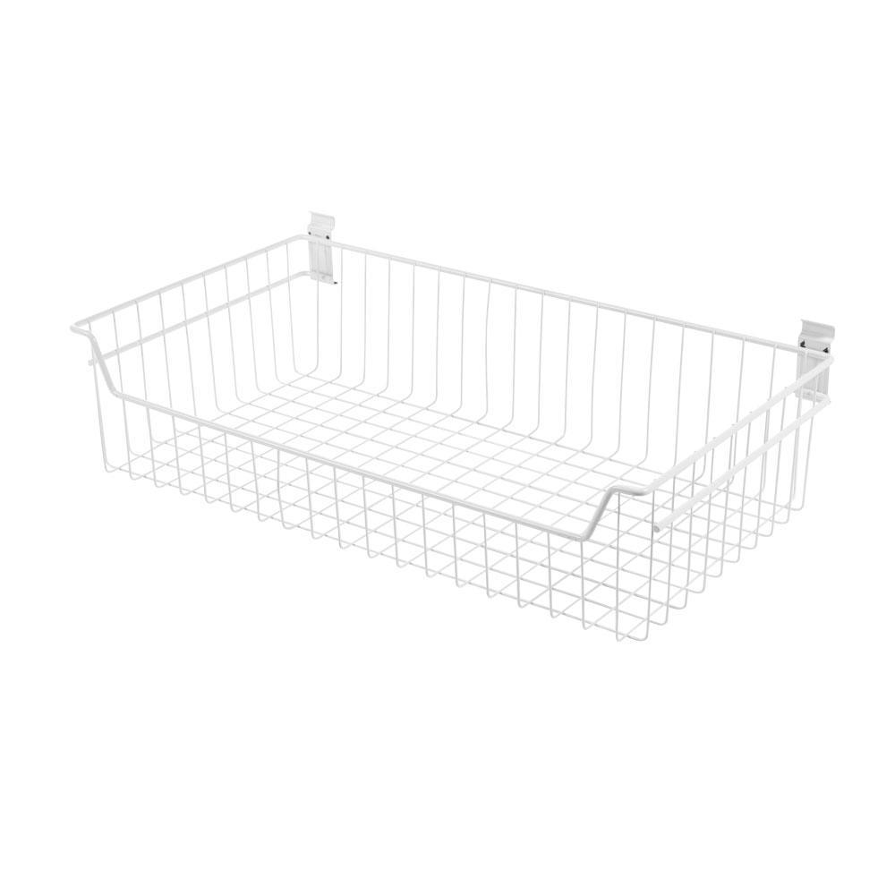 8 in. x 27.5 in. White Steel XXL Deep Wire Basket Bracket for Wire Shelving