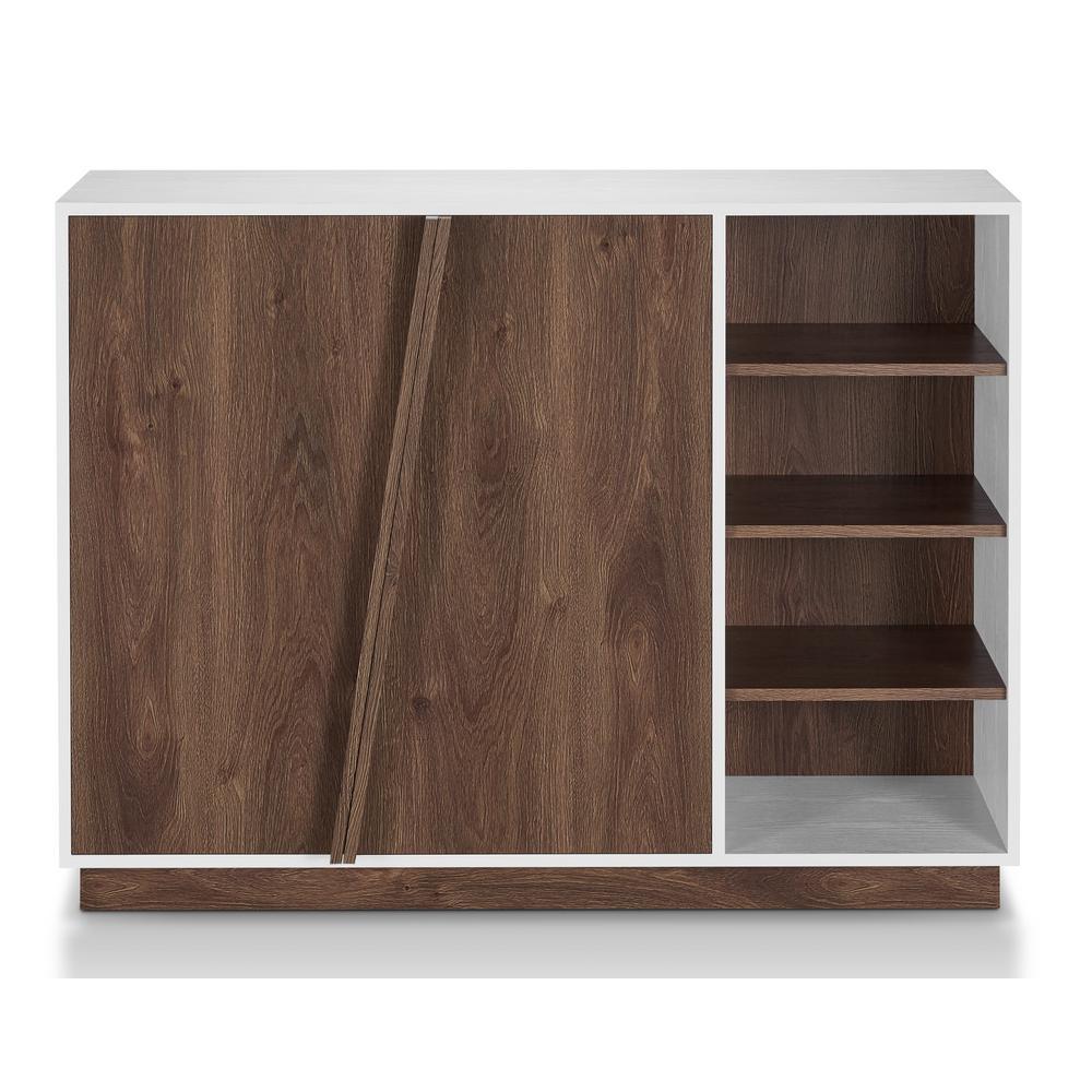 Hazard 35 in. x 47.24 in. 16-Pair Contemporary 2-Tone Wood Shoe Storage Cabinet