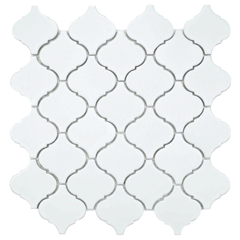 Merola Tile Lantern Matte White 12-1/2 in. x 12-1/2 in. x 5 mm Porcelain Mosaic Floor and Wall Tile (11 sq. ft. /case)-DISCONTINUED