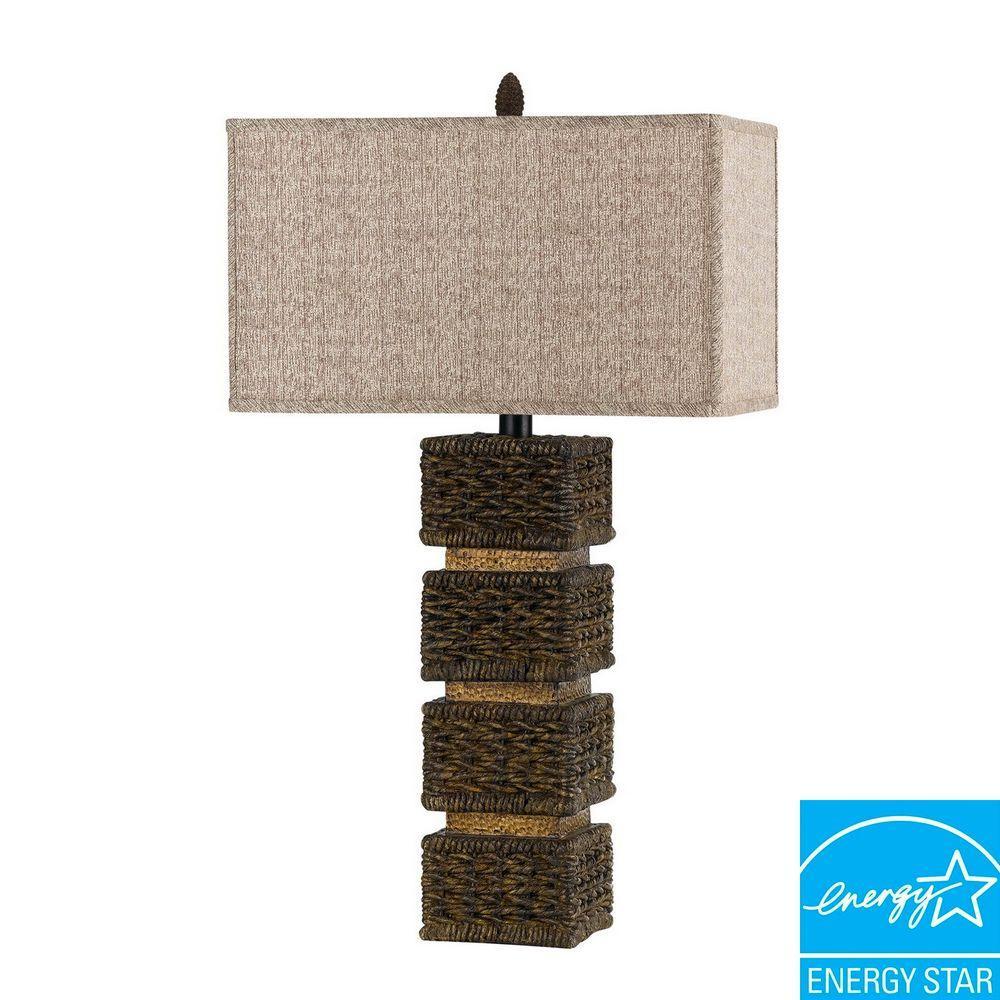 Slatina 32 in. Dark Rattan Resin Wicker Table Lamp