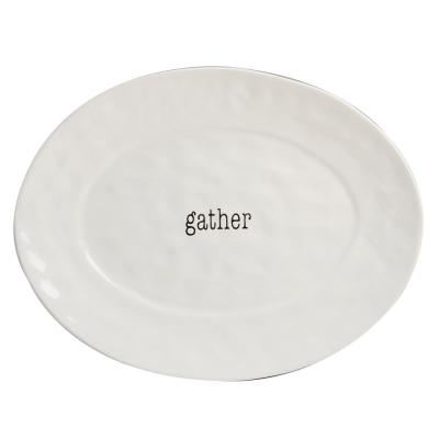 It's Just Words Multi-Colored 16 in. x 12 in. Ceramic Oval Platter