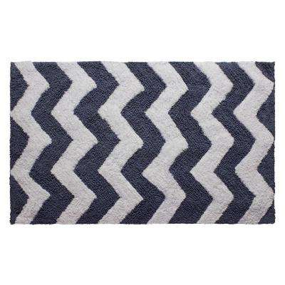 Reversible Cotton Soft Zigzag Denim Blue 21 in. x 34 in. Bath Mat