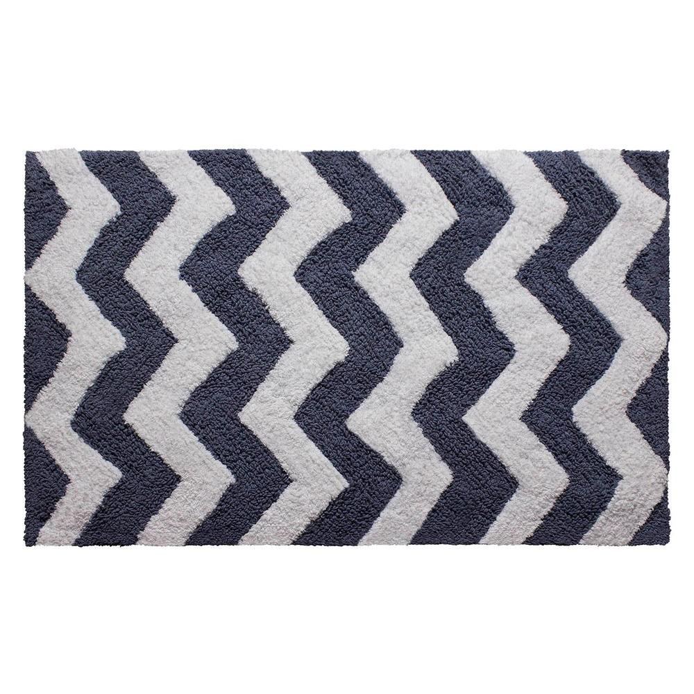 Reversible Cotton Soft Zigzag Denim Blue 21 in. x 34 in.