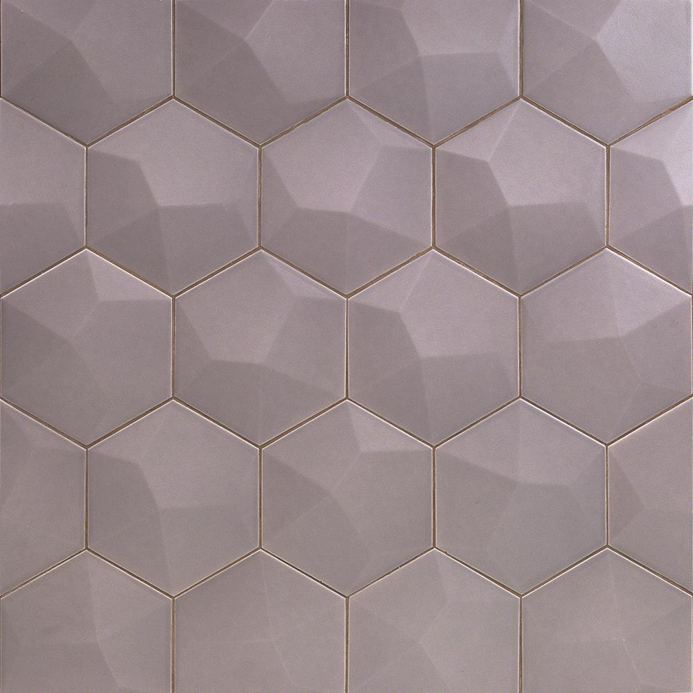. Ivy Hill Tile Bethlehem 3D Hexagon Gray 5 9 in  x 6 96 in  x 8mm Matte  Ceramic Wall Tile  25 pieces   5 4 sq  ft    box